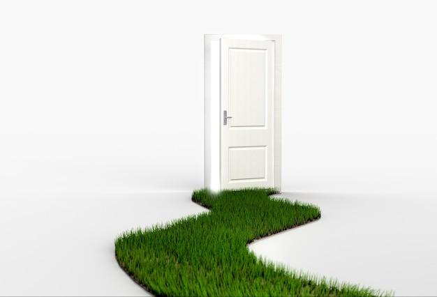 開いた白いドアにつながる新鮮な緑の芝生の小道。 3dレンダリング