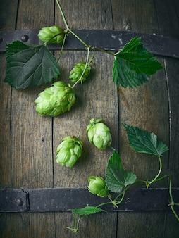 古いビール樽の背景、上面図に新鮮なグリーンホップ植物の円錐形