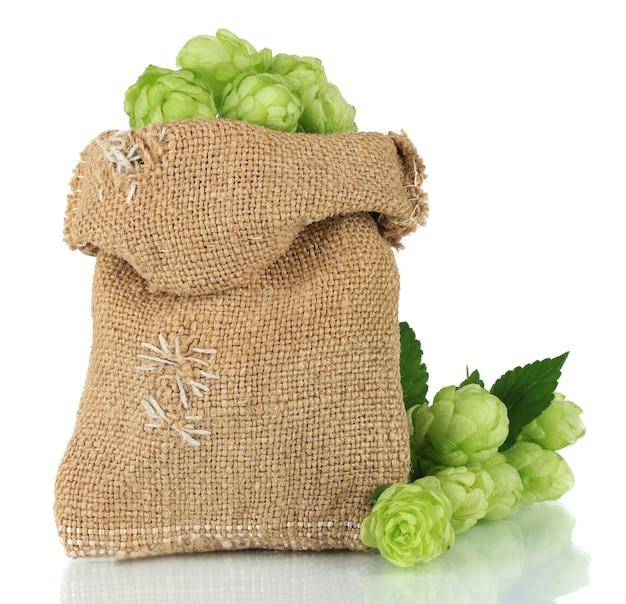 白で隔離される黄麻布の袋の新鮮な緑のホップ