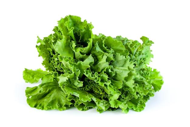 Fresh green lettuce salad leaves isolated on white, healthy vegetable