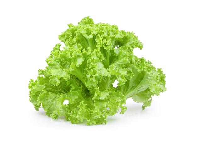 分離された新鮮な緑のレタスサラダの葉