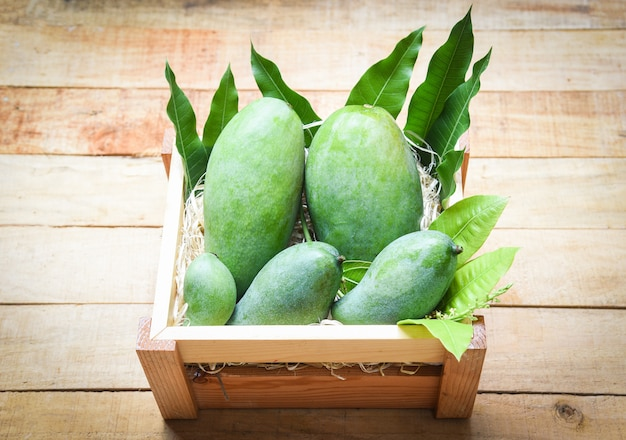Fresh green mango and green leaves on wooden box