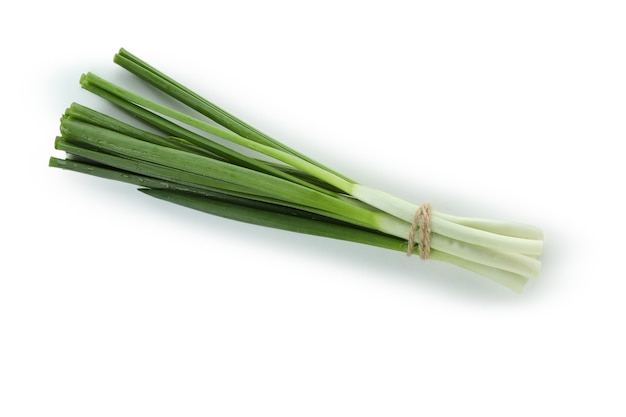 Fresh green onion isolated on white