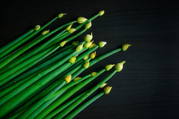 Свежий зеленый лук с каплями воды на черном фоне, преимущества органических продуктов