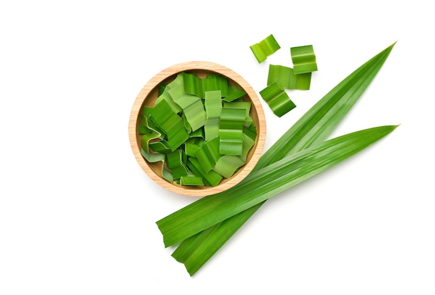 Fresh green pandan leaves isolated on white