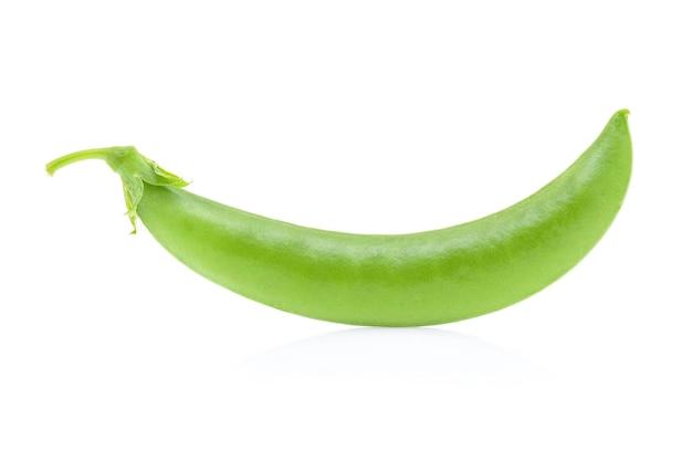 Fresh green pea pod isolated on white
