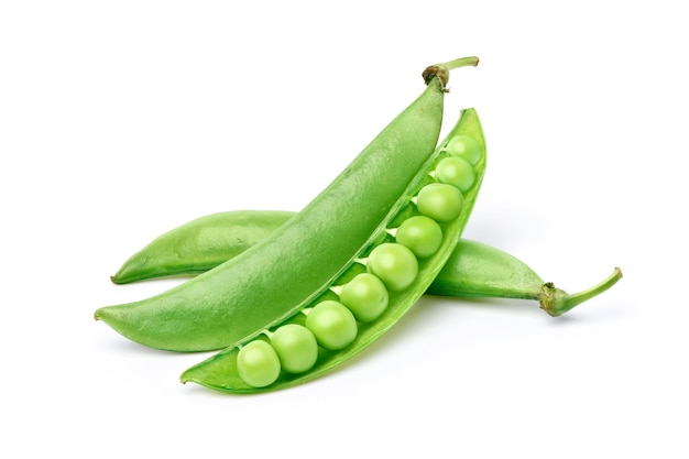 Fresh green peas with pods isolated on white background.