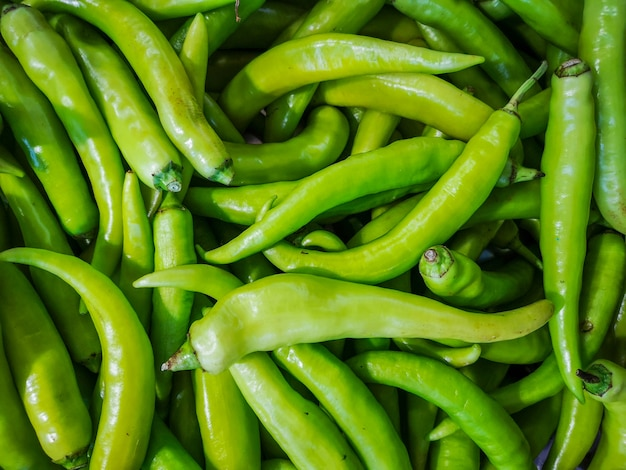Fresh green pepper for sale in the market.