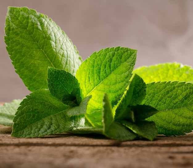 Fresh green peppermint leaves on a rustic wooden background. studio shot.
