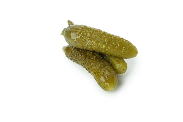 Fresh green pickles isolated on white background