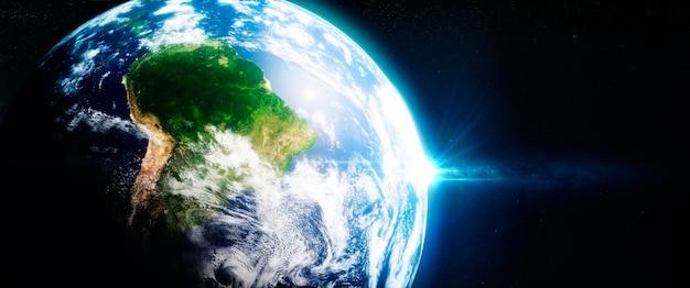 宇宙から見た南米の新緑のレイノレスト。 3dイラスト。