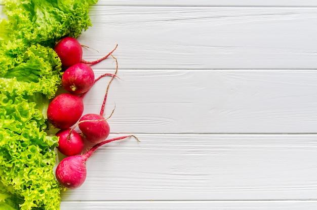 Fresh green salad and spring radish
