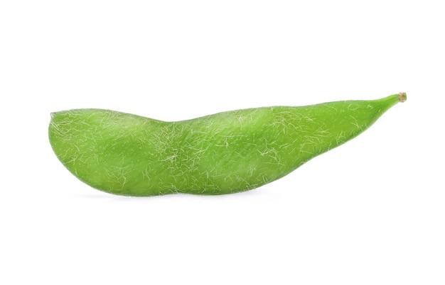 白い背景の上の新鮮な緑の大豆