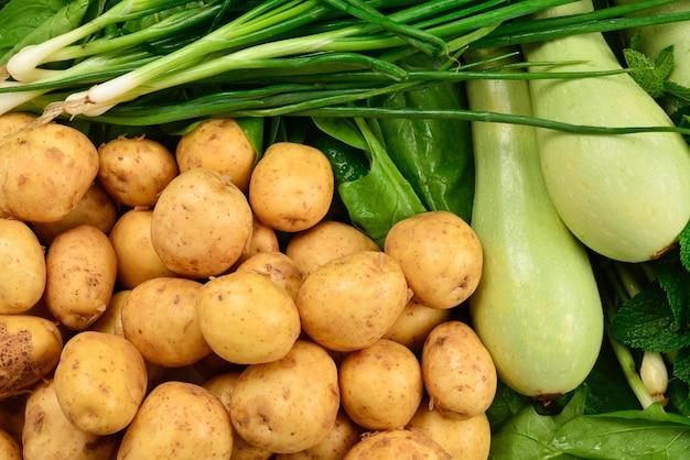 背景として新鮮な緑の野菜とハーブ。