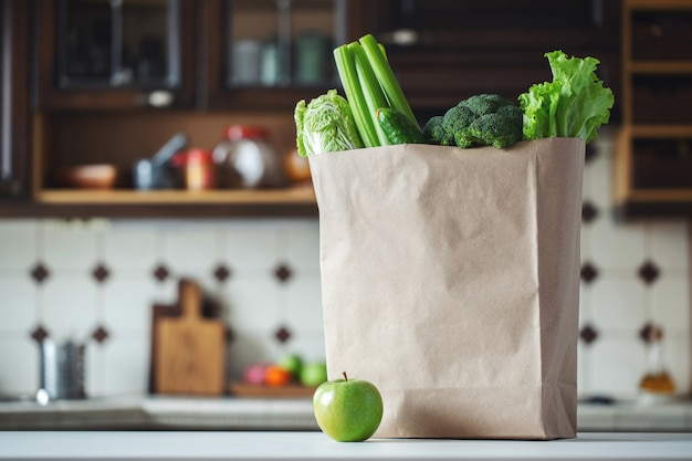 Fresh green vegetables and fruits in a paper bag.