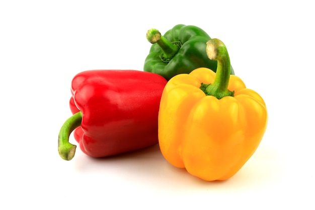 Fresh green, yellow, red bell pepper.