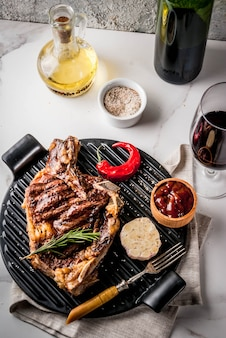 Fresh grilled meat beef steak with with red wine