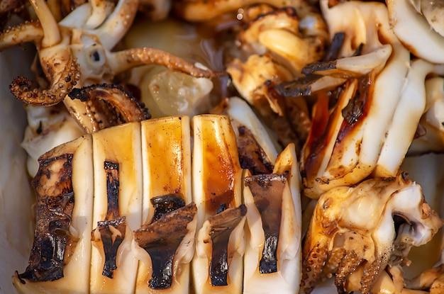 Fresh grilled squid cut a small piece