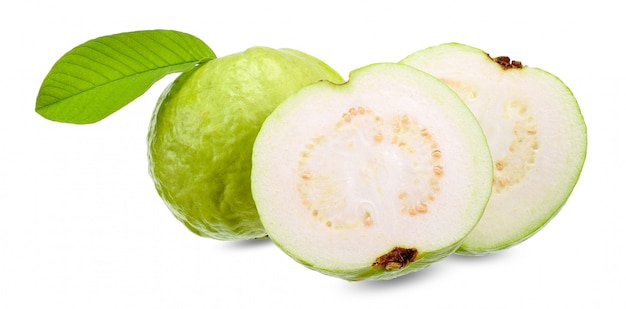 Fresh guava isolated on white clipping path