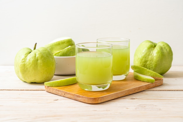 Fresh guava juice glass with fresh guava fruit