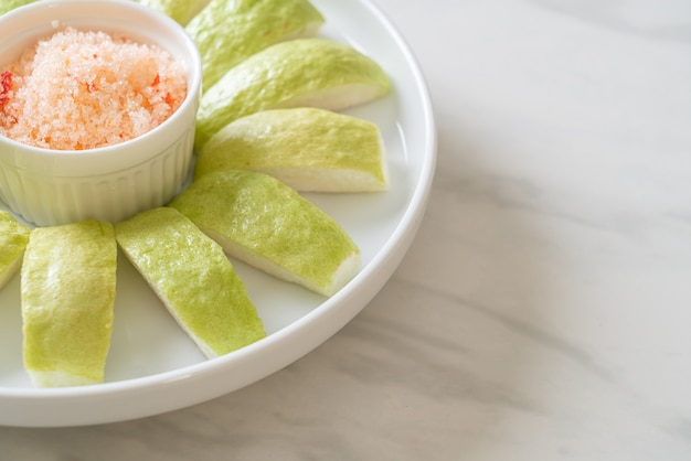 Fresh guava sliced with chili and salt dipping