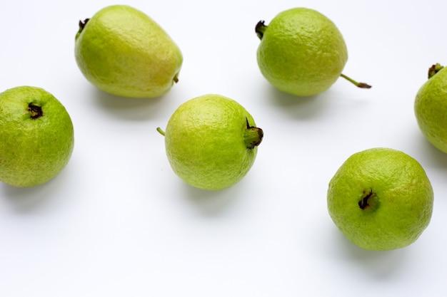 Fresh guava on white background.