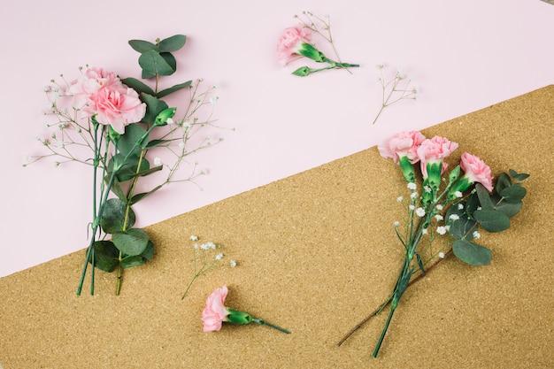 Свежие цветы гипсофилы и гвоздики на розовом и картонном фоне