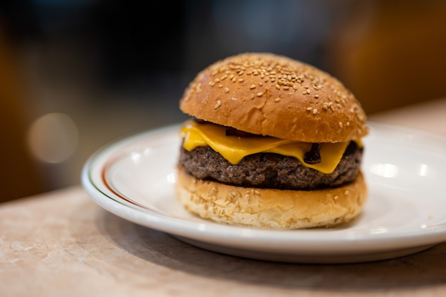 Fresh hamburger on the table