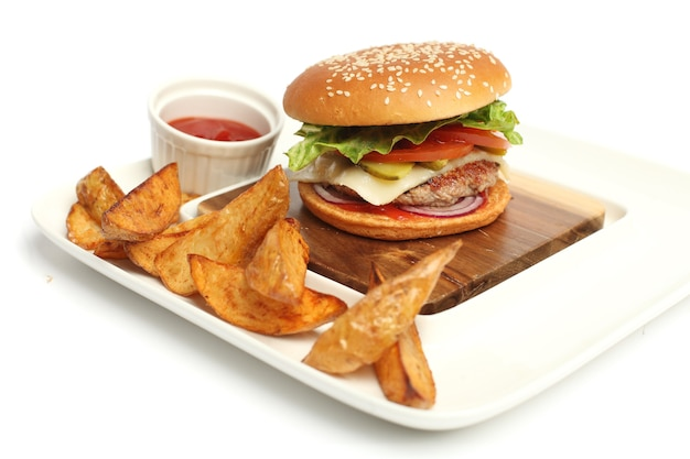 Fresh hamburger with french fries