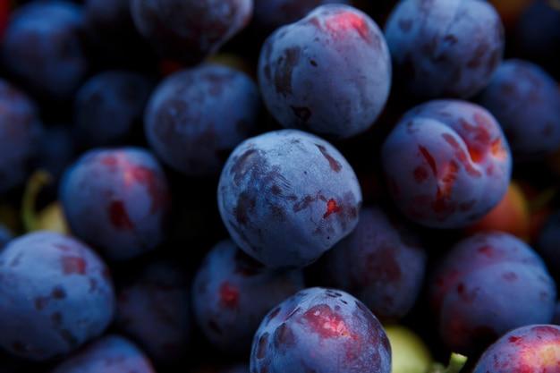 熟した青い梅の果実の新鮮な収穫は水平にクローズアップ