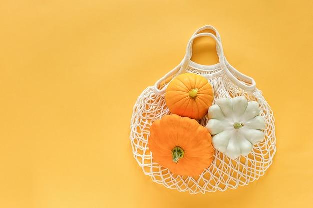Fresh harvest vegetables gourds pumpkin, pattypan squash on shopping eco-friendly mesh bag on yellow background