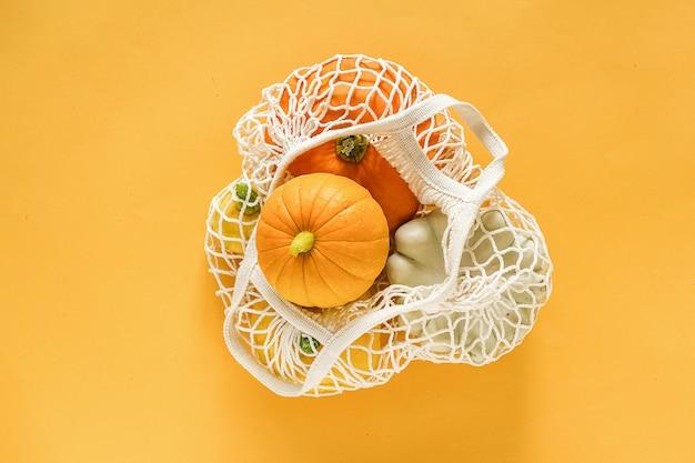 Fresh harvest vegetables gourds pumpkin, pattypan squash in shopping eco-friendly mesh bag