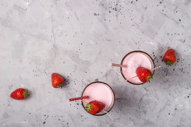 Fresh healthy berry smoothie as a summer refreshing drink