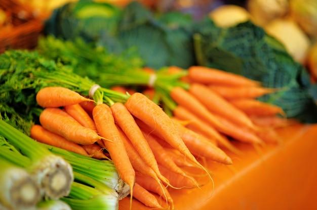 파리 농부 농업 시장에 신선한 건강 한 바이오 회 향 및 당근