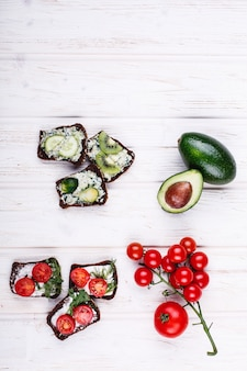 Fresh and healthy food. snack or lunch ideas. homemade bread with cheese, avocado