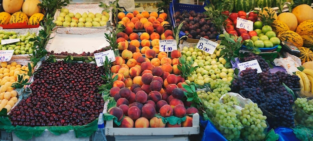 Fresh healthy mixed fruits stall in istanbul, turkey