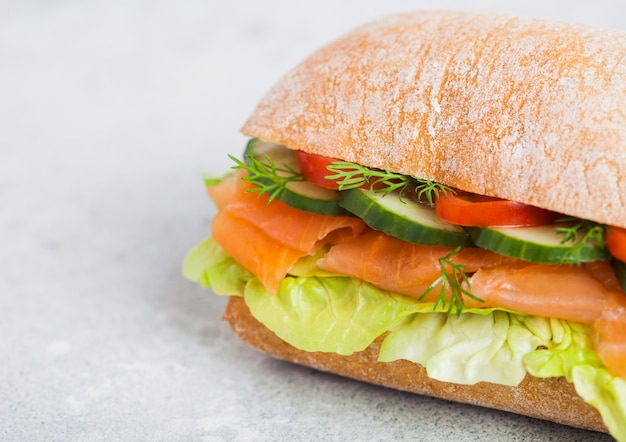 Fresh healthy salmon sandwich with lettuce and cucumber. breakfast snack