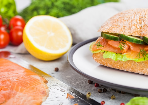 Fresh healthy salmon sandwich with lettuce and cucumber on the plate. breakfast snack. fresh tomatoes, dill and lemon.