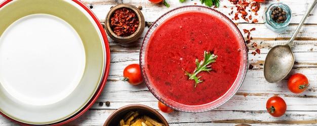 Fresh, healthy tomato soup.spanish gazpacho soup.traditional tomato soup