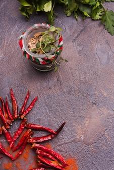 Fresh herbs and chili