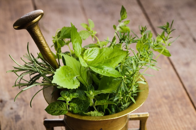 Fresh herbs in the copper mortar on the table