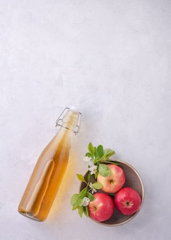 Fresh home-made apple cider with apple on gray  background