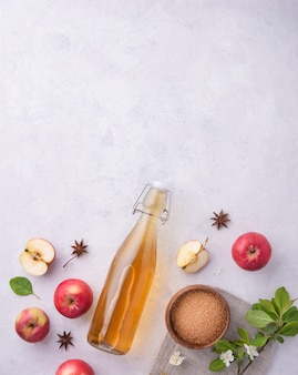 Fresh home-made apple cider with spice on gray background