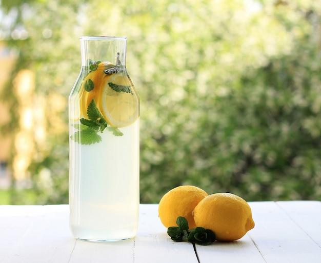 Fresh homemade bottle of lemonade