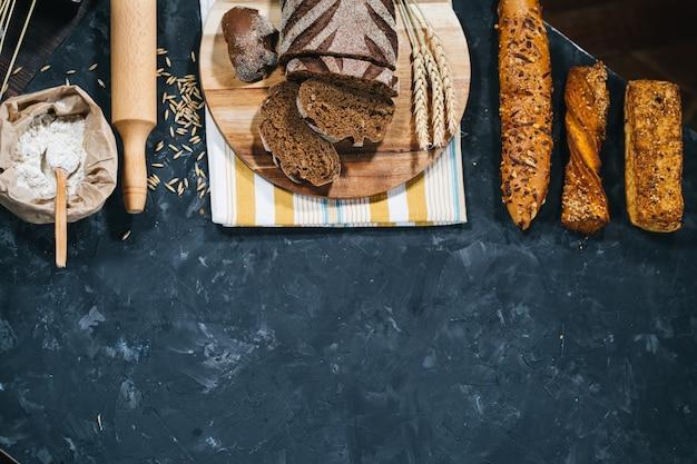 Fresh homemade bread making