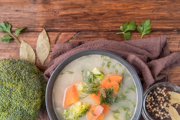 Fresh homemade broccoli soup on cloth