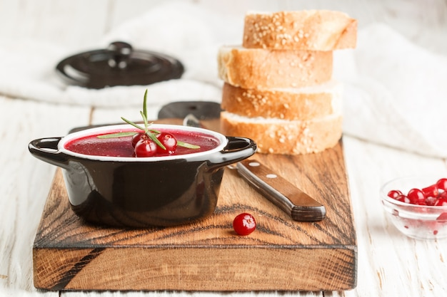 Fresh homemade chicken liver pate (rabbit, goose) with cranberry sauce