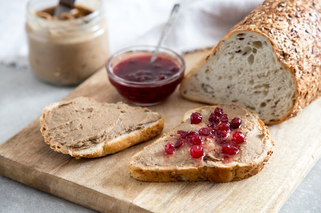 Fresh homemade chicken liver pate (rabbit, goose) with cranberry sauce.