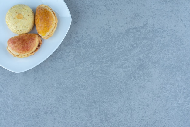 Fresh homemade cookies . delicious cookies on plate.