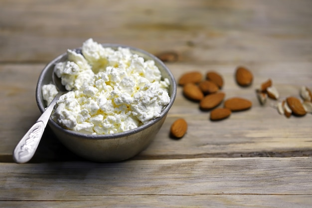 Fresh homemade cottage cheese in a bowl.